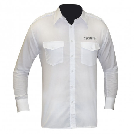 CHEMISE PILOTE BLANCHE MANCHES LONGUES BRODEE SECURITE