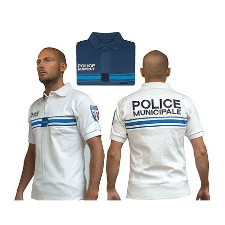 POLO BLANC BRODE POLICE MUNICIPALE