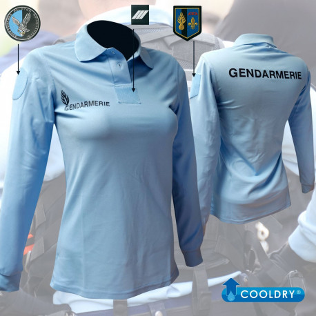 POLO BLEU FEMME GENDARMERIE MANCHES LONGUES COOLDRY MAILLE PIQUEE
