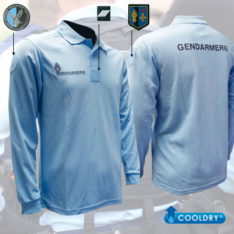POLO BLEU MANCHES LONGUES GENDARMERIE COOLDRY MAILLE PIQUEE