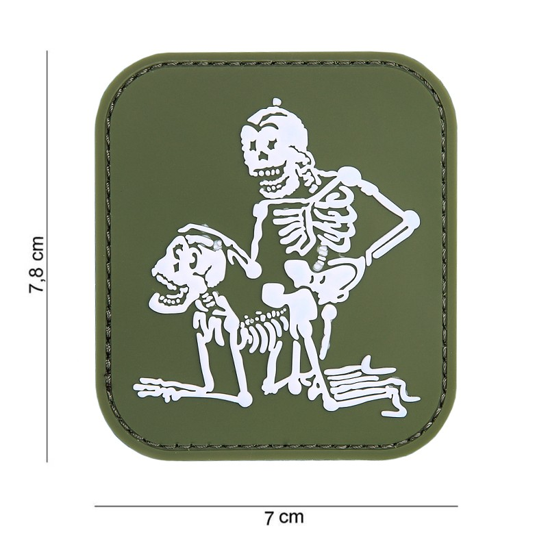 Patch 3D PVC two skeletons green #11173