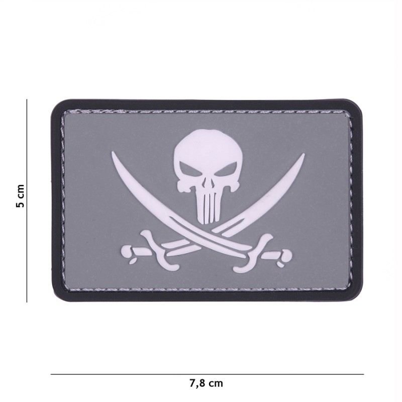 Patch 3D PVC Punisher pirate grey/white #11123