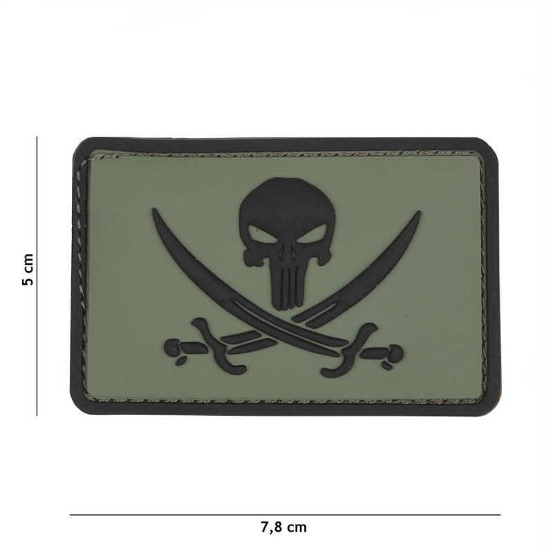 Patch 3D PVC Punisher pirate green #9045