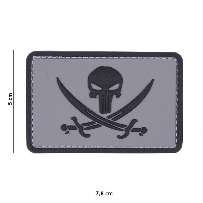 Patch 3D PVC Punisher pirate grey/black #11126
