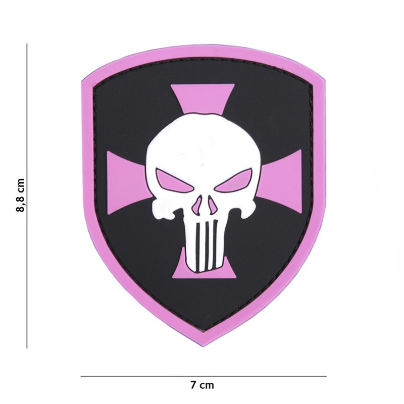 Patch 3D PVC Shield Punisher cross pink #9051