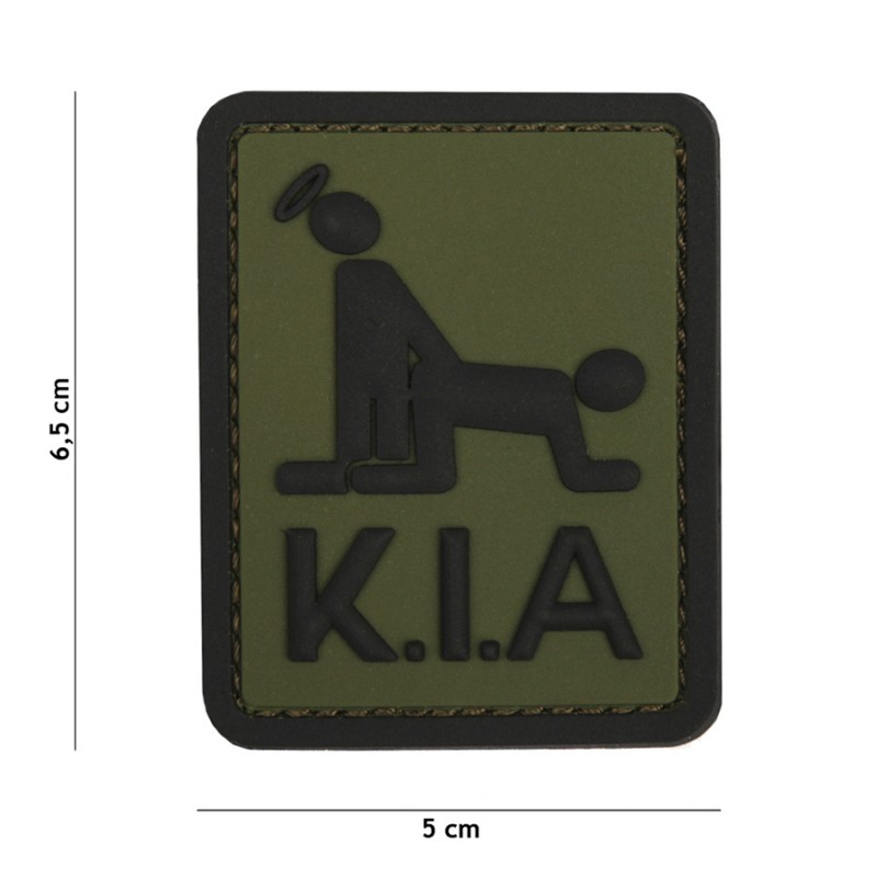 Patch 3D PVC Killed in Action green #3136