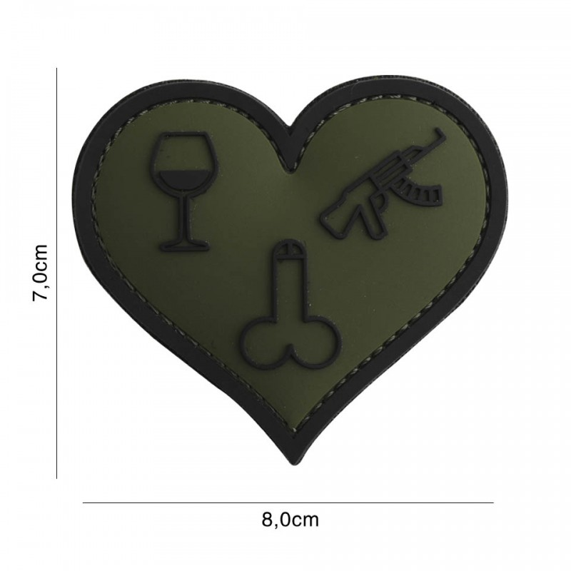 Patch 3D PVC Love wine dicks and guns green #7102