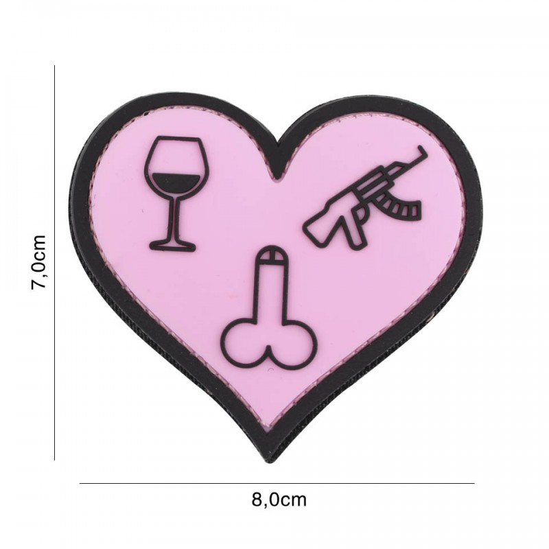 Patch 3D PVC Love wine dicks and guns pink #7103