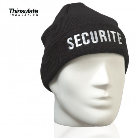 BONNET NOIR MAILLE THINSULATE BRODE SECURITE