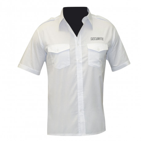 CHEMISE PILOTE BLANCHE MANCHES COURTES BRODEE SECURITE