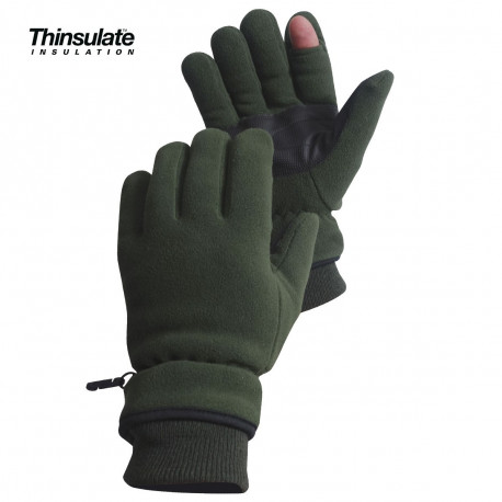 GANTS POLAIRES DOIGT TIREUR THINSULATE VERT ARMEE