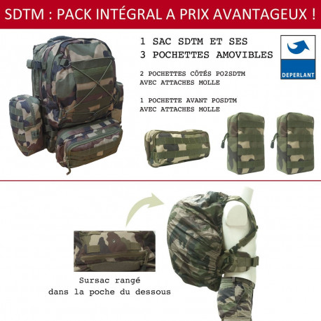 PACK SAC A DOS TACTICAL plus 3 POCHETTES